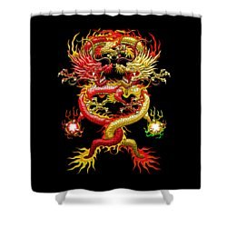 Brotherhood Of The Snake - The Red And The Yellow Dragons Shower Curtain by Serge Averbukh