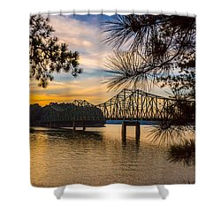 Shower Curtain featuring the photograph Browns Bridge Sunset by Michael Sussman