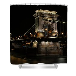 Budapest At Night. Shower Curtain by Jaroslaw Blaminsky