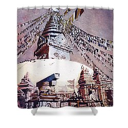 Shower Curtain featuring the painting Buddhist Stupa- Nepal by Ryan Fox