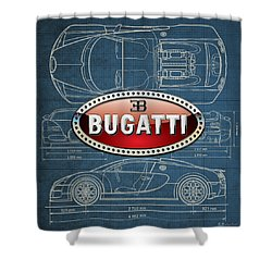 Bugatti 3 D Badge Over Bugatti Veyron Grand Sport Blueprint  Shower Curtain by Serge Averbukh