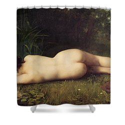 Byblis Turning Into A Spring Shower Curtain by Jean-Jacques Henner