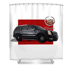 Cadillac Escalade With 3 D Badge  Shower Curtain