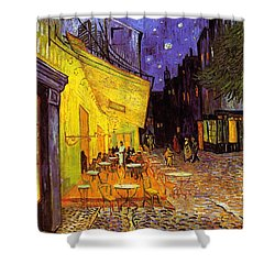 Shower Curtain featuring the painting Cafe Terrace At Night by Van Gogh