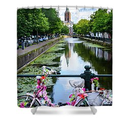 Shower Curtain featuring the digital art Canal And Decorated Bike In The Hague by RicardMN Photography
