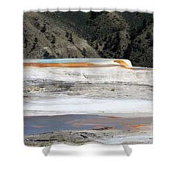Canary Spring At Mammoth Hot Springs Upper Terraces Shower Curtain by Louise Heusinkveld