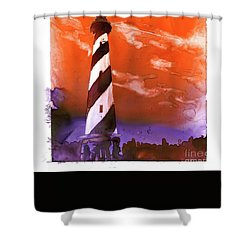 Shower Curtain featuring the painting Cape Hatteras Lighthouse by Ryan Fox