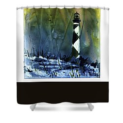 Shower Curtain featuring the mixed media Cape Lookout Lighthouse by Ryan Fox