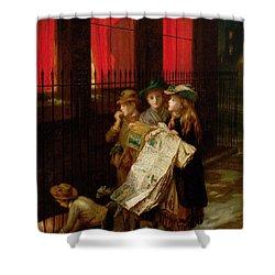 Carol Singers Shower Curtain by Augustus Edward Mulready