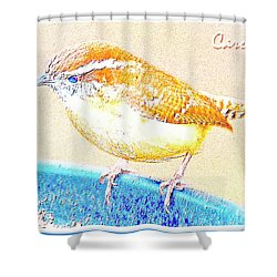Carolina Wren, Winter Wren On Bird Feeder, Digital Art Shower Curtain