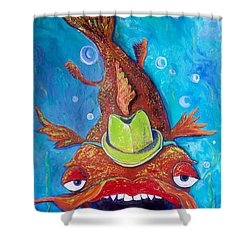 Catfish Clyde Shower Curtain by Vickie Scarlett-Fisher