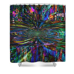 Central Swirl Shower Curtain by Kathy Sheeran