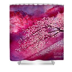 Shower Curtain featuring the painting Cherry Blossoms by Hailey E Herrera