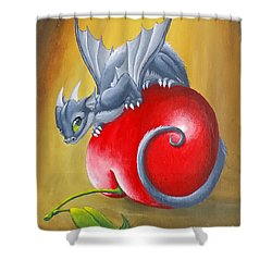 Shower Curtain featuring the painting Cherry Dragon by Mary Hoy