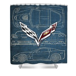 Chevrolet Corvette 3 D Badge Over Corvette C 6 Z R 1 Blueprint Shower Curtain