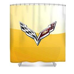 Chevrolet Corvette 3d Badge On Yellow Shower Curtain