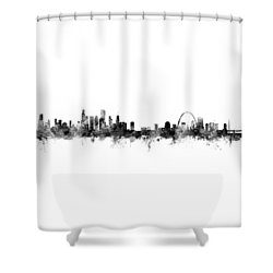 Chicago And St Louis Skyline Mashup Shower Curtain by Michael Tompsett