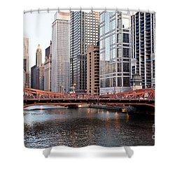 Chicago Downtown At Lasalle Street Bridge Shower Curtain by Paul Velgos
