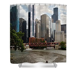 Chicago River Jet Ski Shower Curtain