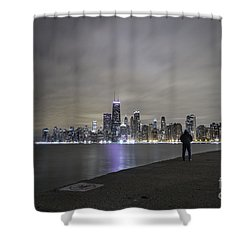 Shower Curtain featuring the photograph Chicago Skyline At Night by Keith Kapple