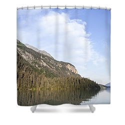 Chilkoot Lake Reflections Shower Curtain by Michele Cornelius