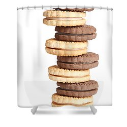 Chocolate And Vanilla Creamed Filled Cookies  Shower Curtain by James BO  Insogna