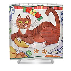 Christmas Cat And The Turkey Shower Curtain by Cathy Baxter