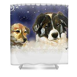 Christmas Doggies Shower Curtain