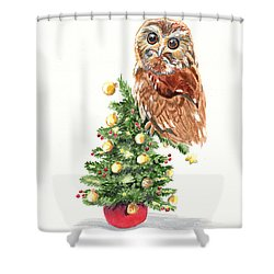 Christmas Owl Shower Curtain by LeAnne Sowa