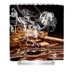 Cigar And Alcohol Collection Shower Curtain by Marvin Blaine