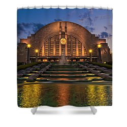 Cincinnati Museum Center At Twilight Shower Curtain by Keith Allen