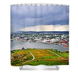 Cityscape Of Saint John's From Signal Hill Shower Curtain by Elena Elisseeva