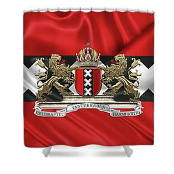 Coat Of Arms Of Amsterdam Over Flag Of Amsterdam Shower Curtain by Serge Averbukh