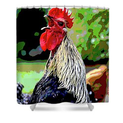 Shower Curtain featuring the mixed media Cock A Doodle Doo by Charles Shoup