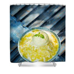 Coconut Sorbet With Mango Sauce And Vanilla Ice Cream Shower Curtain
