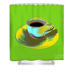 Shower Curtain featuring the digital art Coffee Cup Pop Art by Jean luc Comperat
