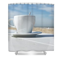 Shower Curtain featuring the photograph Coffee On The Beach by Patricia Hofmeester