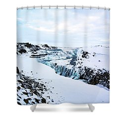 Cold Winter Day At Gullfoss, Iceland Shower Curtain