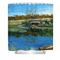 Shower Curtain featuring the painting Cole Hill Pond by Melly Terpening