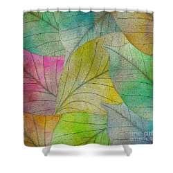 Shower Curtain featuring the digital art Colorful Leaves by Klara Acel