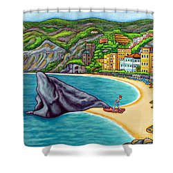 Colours Of Monterosso Shower Curtain by Lisa  Lorenz