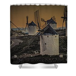 Shower Curtain featuring the photograph Consuegra Windmills 2 by Heiko Koehrer-Wagner