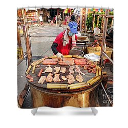 Shower Curtain featuring the photograph Cooking Meat And Eggs On A Huge Grill by Yali Shi