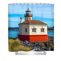 Coquille Lighthouse Shower Curtain by Dennis Bucklin