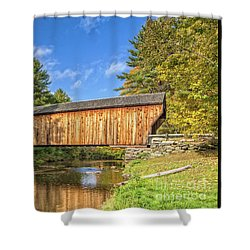 Shower Curtain featuring the photograph Corbin Covered Bridge Newport New Hampshire by Edward Fielding