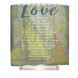 1 Corinthians 13 4-8 Love Is Patient Love Is Kind Wedding Verses. Great Gift For Men Or Home Decor. Shower Curtain