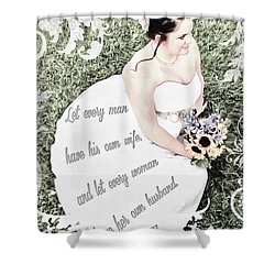 1 Corinthians 7 2 Shower Curtain by Michelle Greene Wheeler