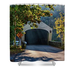 Shower Curtain featuring the photograph Cornish-windsor Covered Bridge by Jeff Folger