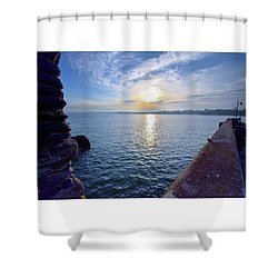 Sunrise Newquay Harbour Shower Curtain