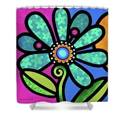 Cosmic Daisy In Aqua Shower Curtain